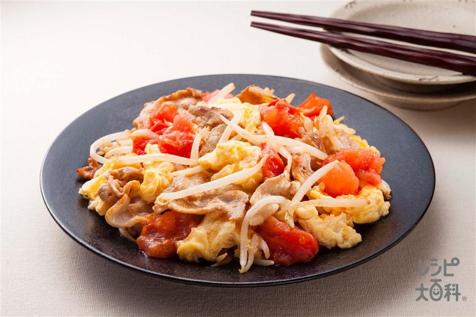 トマトと豚肉のふわふわ卵炒め(トマト+もやしを使ったレシピ)