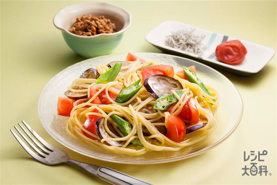 夏野菜の冷製パスタ(スパゲッティ+トマトを使ったレシピ)