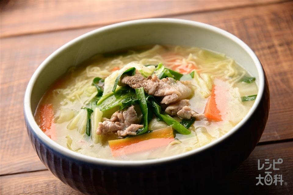 野菜たっぷりタンメン(中華生めん+もやしを使ったレシピ)