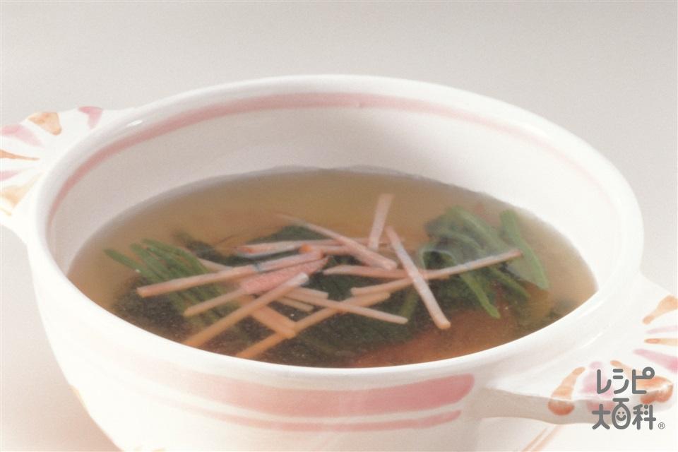 ほうれん草とハムの即席スープ(ほうれん草+ロースハムを使ったレシピ)