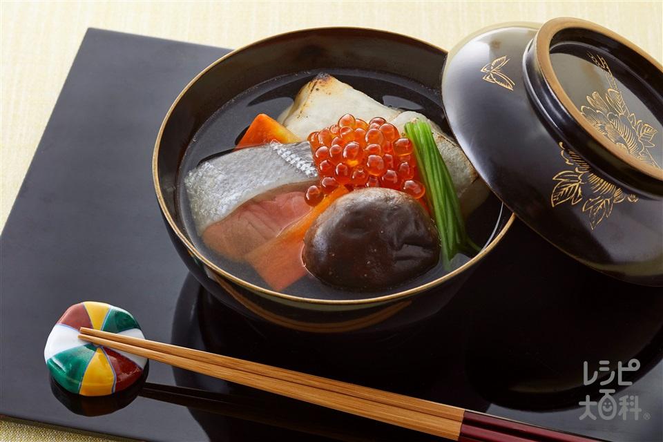 北海道風雑煮(角餅+生ざけを使ったレシピ)