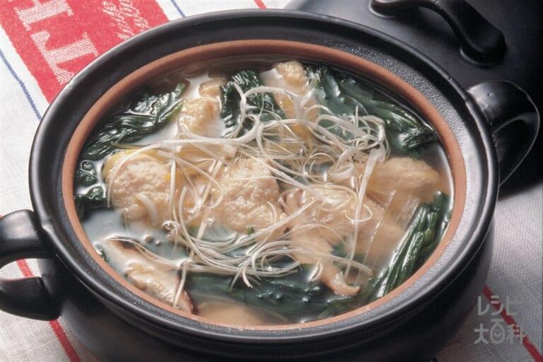 ひき肉入り豆腐クネルスープ