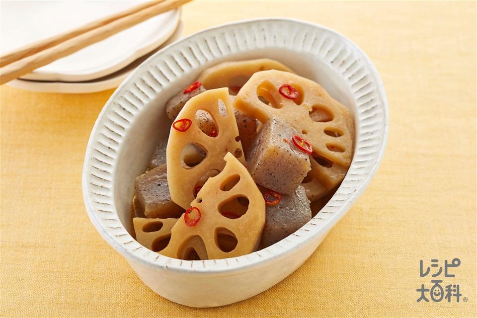 こんにゃくとれんこんのピリ辛煮(れんこん+こんにゃくを使ったレシピ)