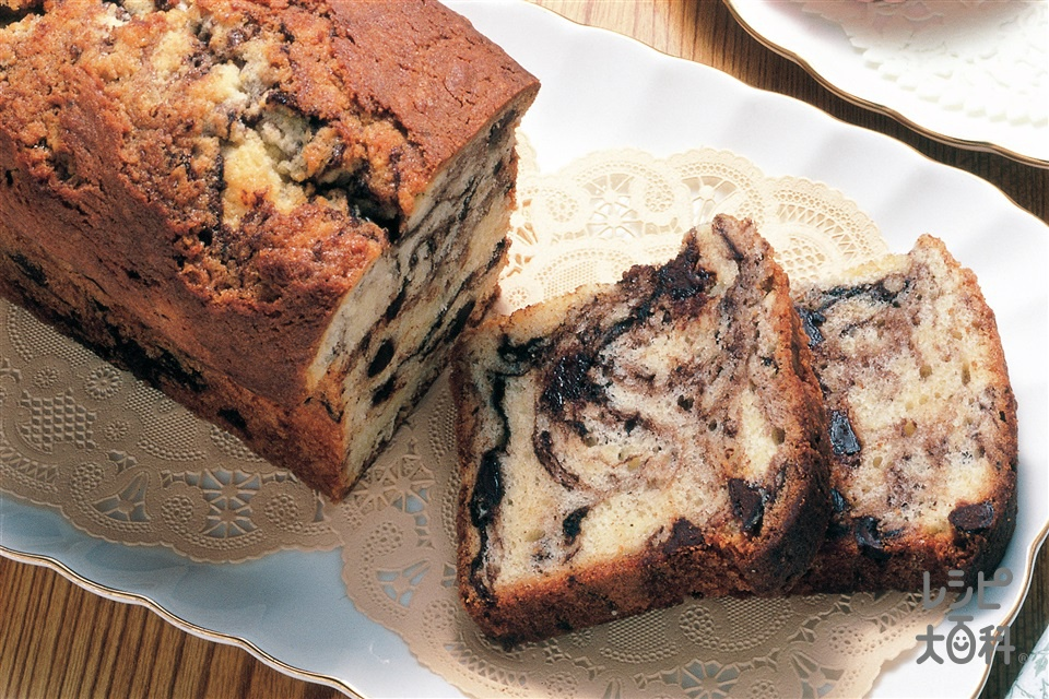 チョコマーブルパウンドケーキ(薄力粉+砂糖を使ったレシピ)