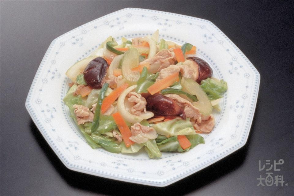 肉野菜炒め(豚薄切り肉+Aしょうゆを使ったレシピ)