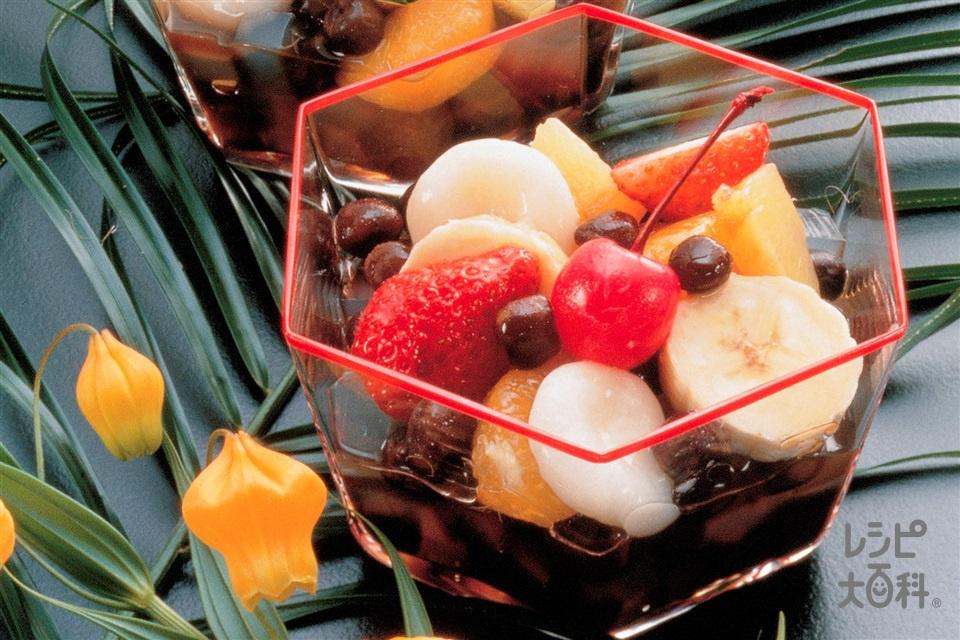 フルーツみつ豆(寒天+A黒砂糖を使ったレシピ)