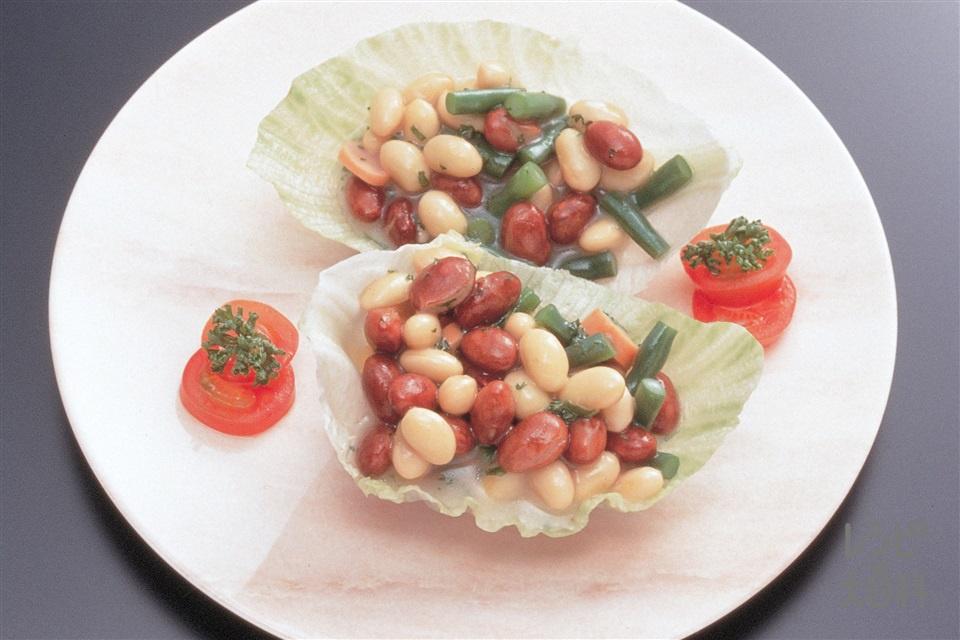 ビーンズサラダ(金時豆の水煮缶+大豆の水煮を使ったレシピ)