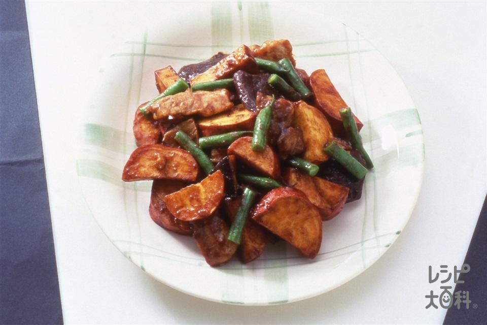 豚肉とさつまいものみそ炒め(豚もも肉+さつまいもを使ったレシピ)
