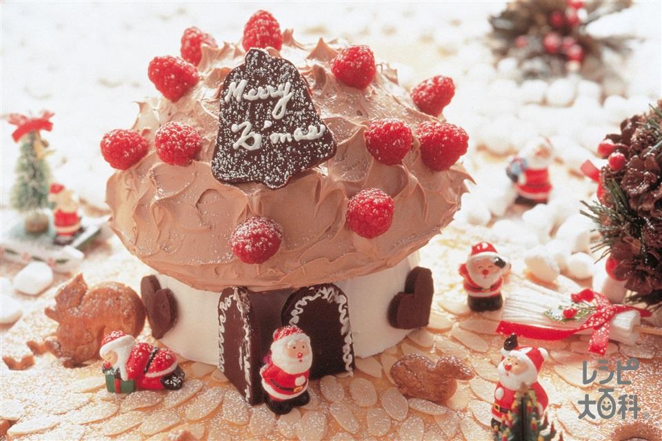 サンタさんのお家ケーキ(卵+グラニュー糖を使ったレシピ)