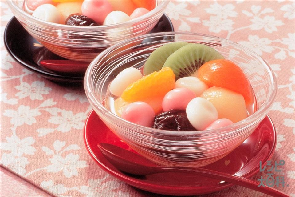 フルーツ白玉(白玉粉+水溶き食紅を使ったレシピ)