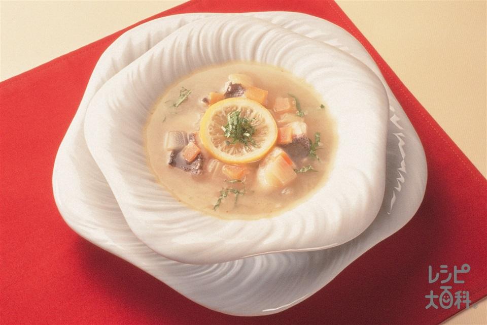 いさきのスープ・レモン風味(いさき+A「瀬戸のほんじお」を使ったレシピ)
