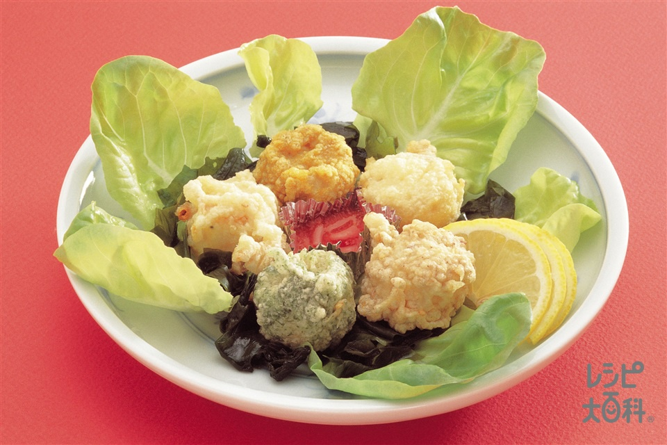 変り揚げシューマイ(小麦粉+桜えびを使ったレシピ)