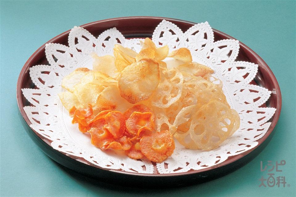 野菜チップス(じゃがいも+れんこんを使ったレシピ)