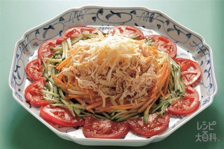 せん切り野菜の山椒ソース