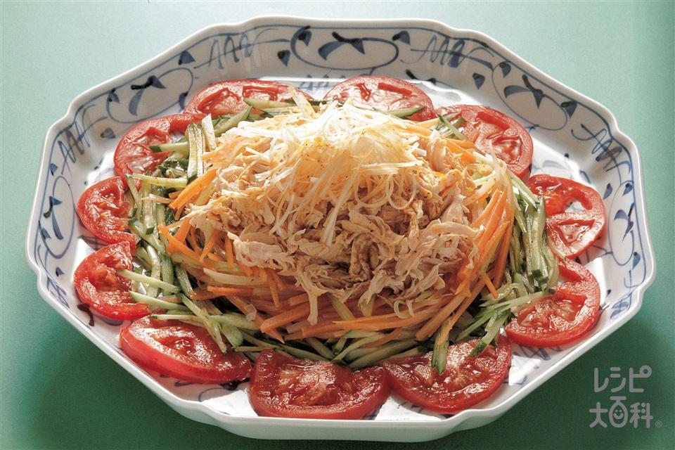 せん切り野菜の山椒ソース(鶏ささ身+トマトを使ったレシピ)