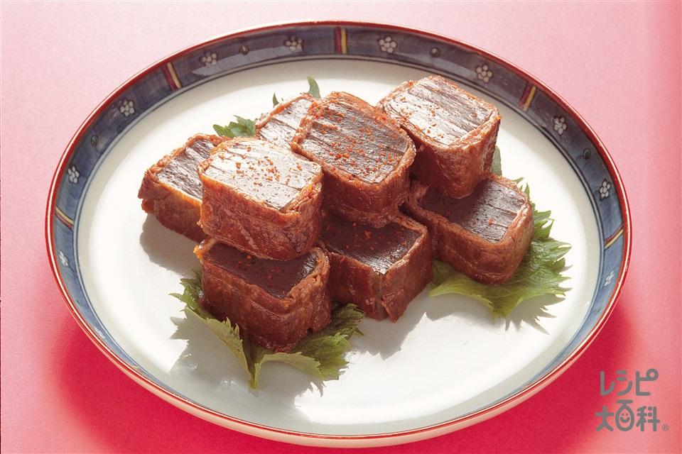 こんにゃくの牛肉巻き(黒こんにゃく+A水を使ったレシピ)