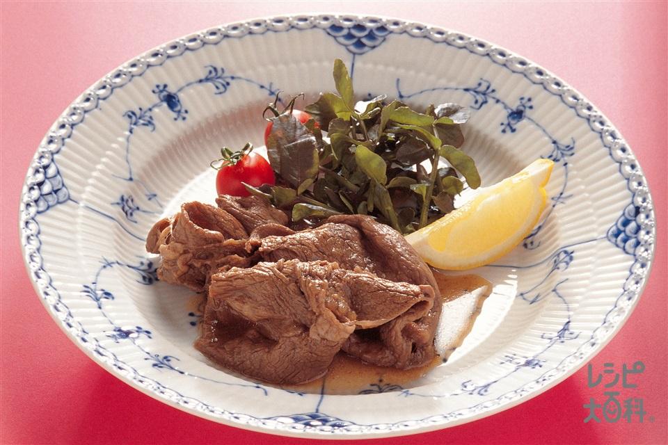 牛肉の赤ワイン漬け(牛もも薄切り肉+A「瀬戸のほんじお」を使ったレシピ)