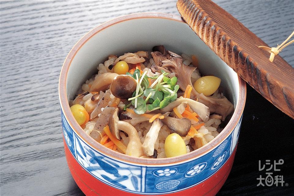 きのこご飯(米+まいたけを使ったレシピ)