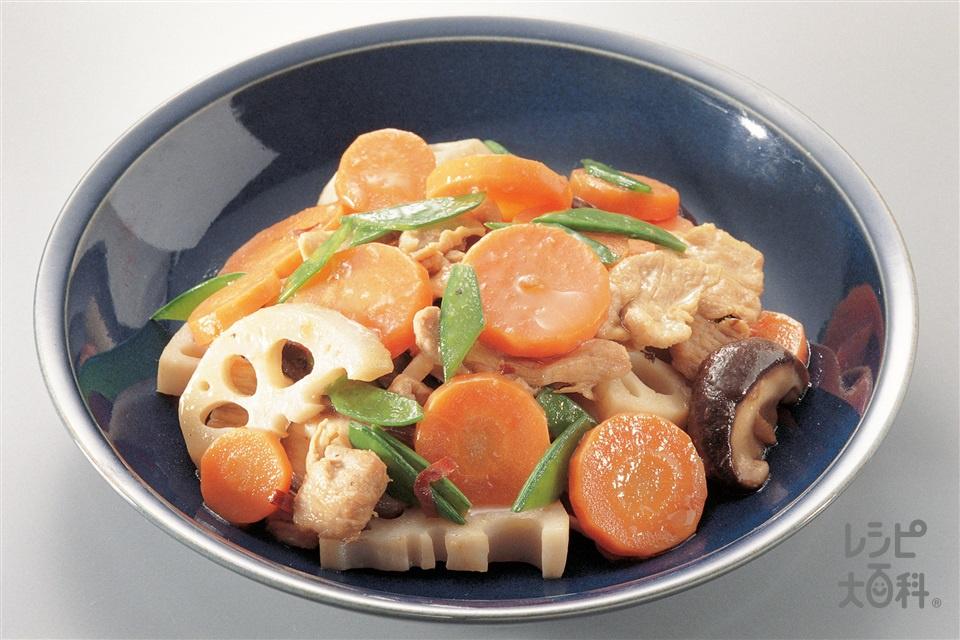 豚肉と根菜の炒め煮(豚もも薄切り肉+Aしょうゆを使ったレシピ)