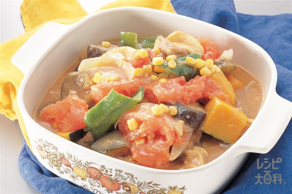 鶏肉と夏野菜のトマト煮込み(なす+トマトを使ったレシピ)