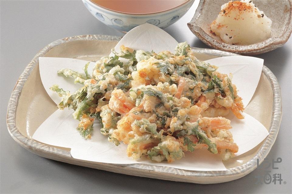 春菊と納豆のかき揚げ(春菊+にんじんを使ったレシピ)