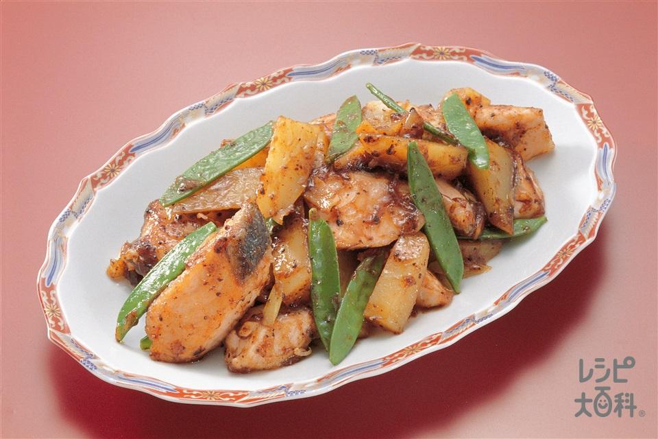 鮭とじゃがいもの中国風炒め(生ざけ+Aしょうゆを使ったレシピ)