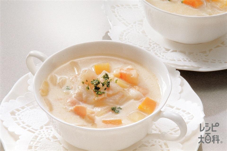 えびのチャウダー(大正えび+牛乳を使ったレシピ)