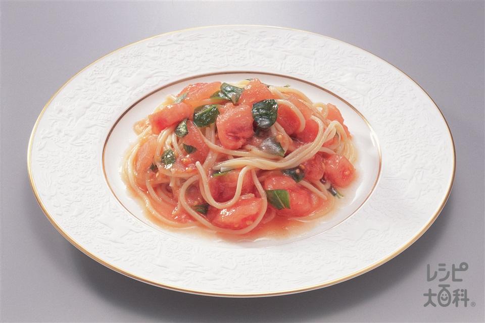 トマトサラダスパゲッティ(スパゲッティ+完熟トマトを使ったレシピ)