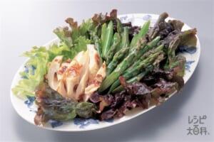 グリーンアスパラとちくわのオイスターソース(グリーンアスパラガス+ちくわを使ったレシピ)