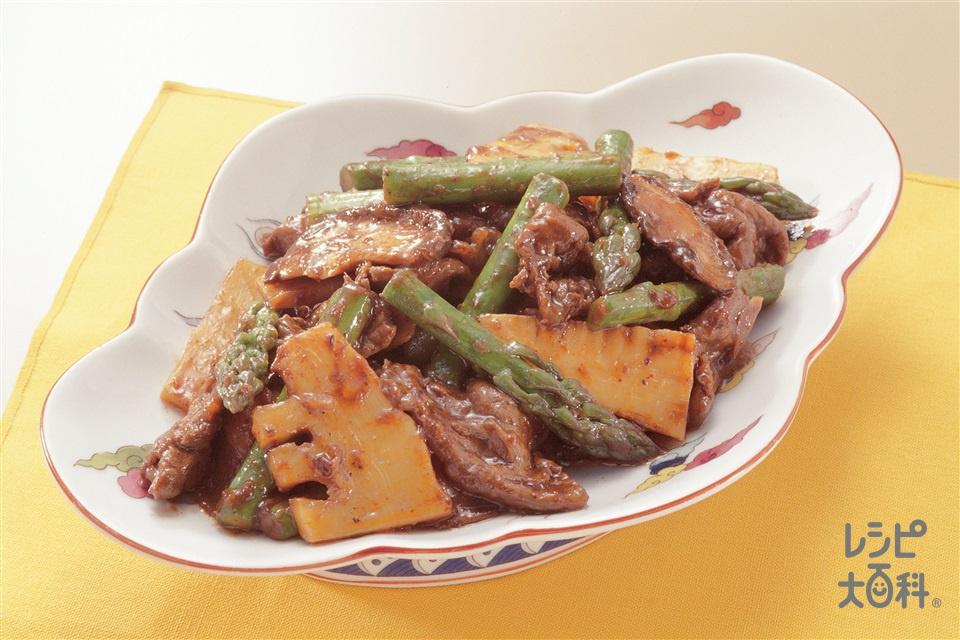 グリーンアスパラと牛肉のみそ炒め(牛もも薄切り肉+Aしょうゆを使ったレシピ)