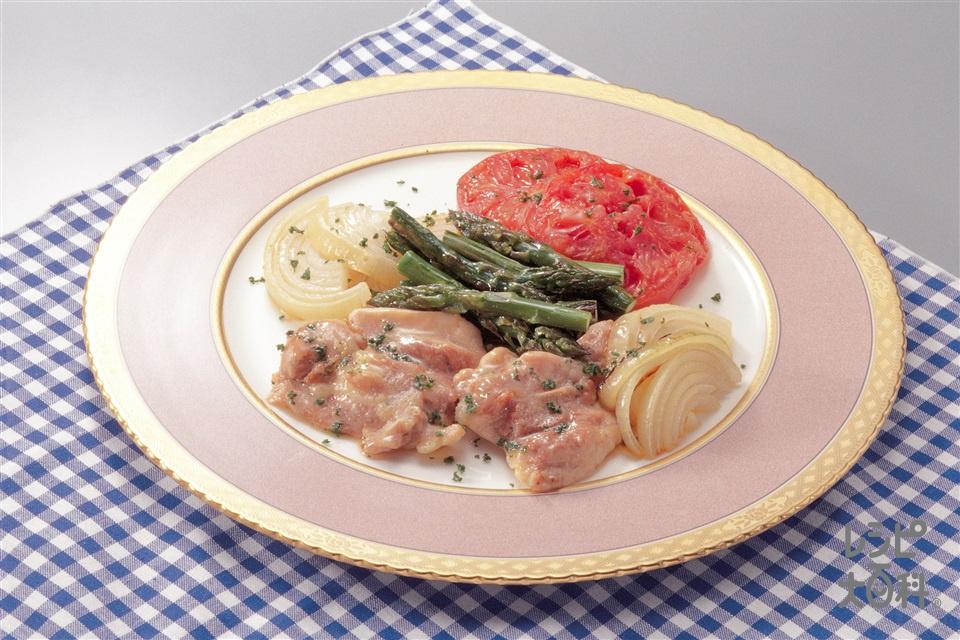鶏肉と野菜のオリーブオイル焼き(鶏もも肉+トマトを使ったレシピ)