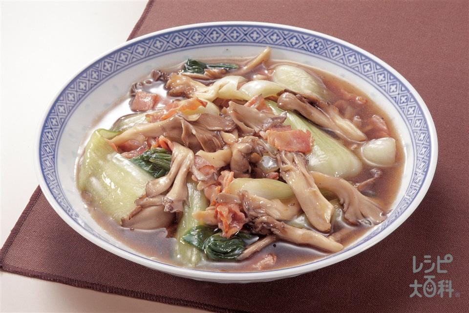 まいたけとチンゲン菜のオイスターソース炒め(まいたけ+チンゲン菜を使ったレシピ)