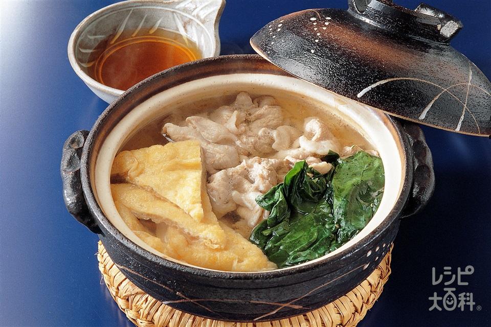 常夜鍋(ほうれん草+豚薄切り肉を使ったレシピ)