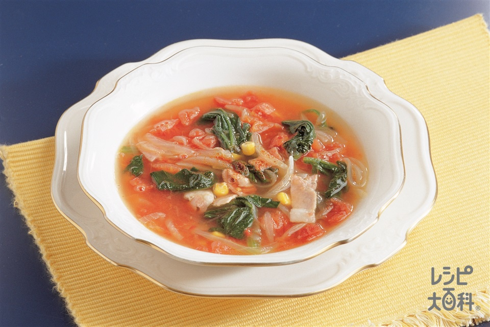 ほうれん草のトマトスープ(玉ねぎ+ホールトマト缶を使ったレシピ)