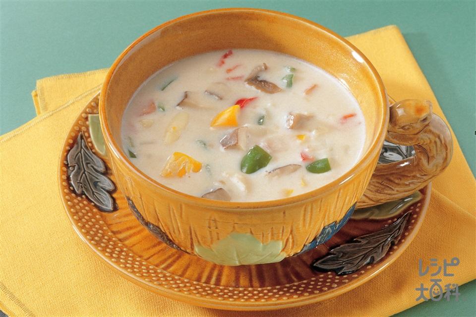 にぎやかクリームスープ(エリンギ+玉ねぎを使ったレシピ)