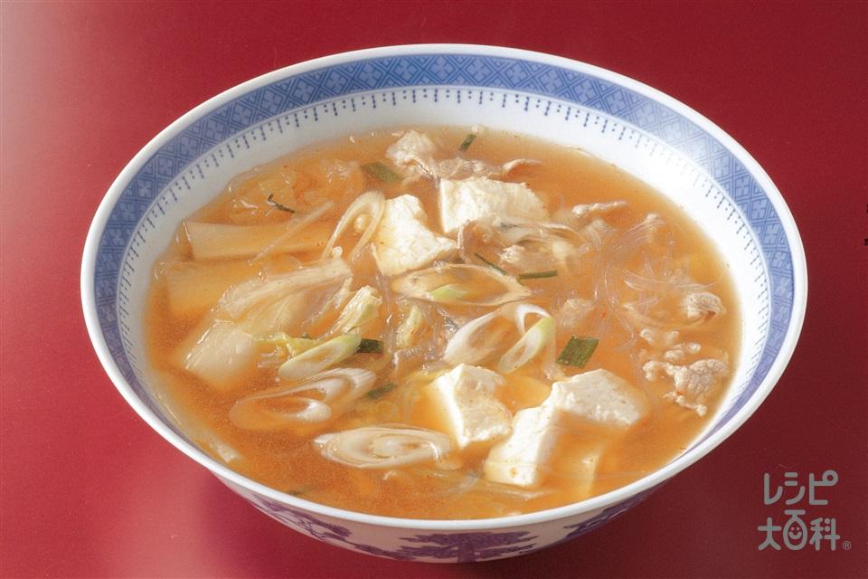 キムチのスープ(白菜キムチ+絹ごし豆腐を使ったレシピ)