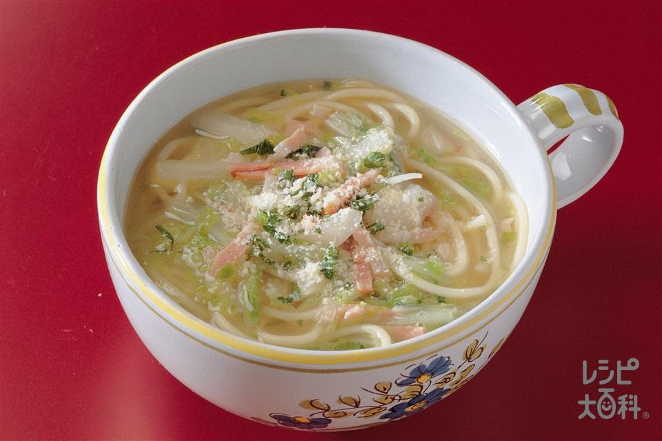 ベーコンのスープスパゲッティ(スパゲッティ+白菜を使ったレシピ)