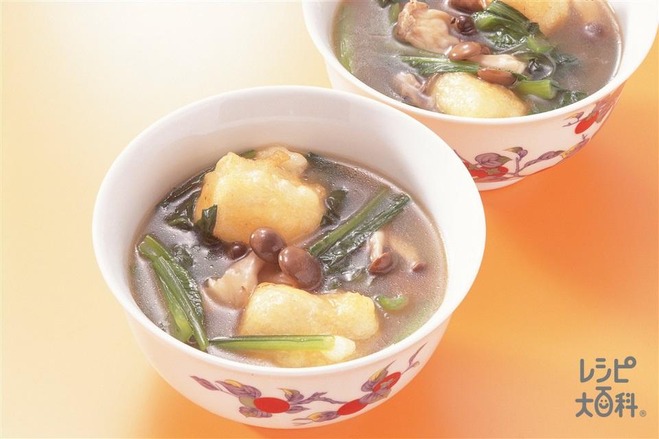 小松菜の中国風雑煮(小松菜+しめじを使ったレシピ)