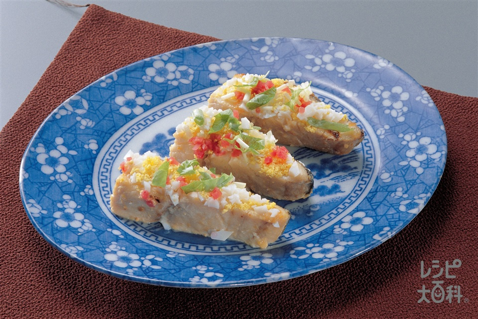 白身魚の菜の花焼き(白身魚+ゆで卵を使ったレシピ)