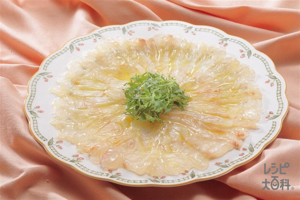白身魚のカルパッチョ(白身魚の刺身+レモン汁を使ったレシピ)