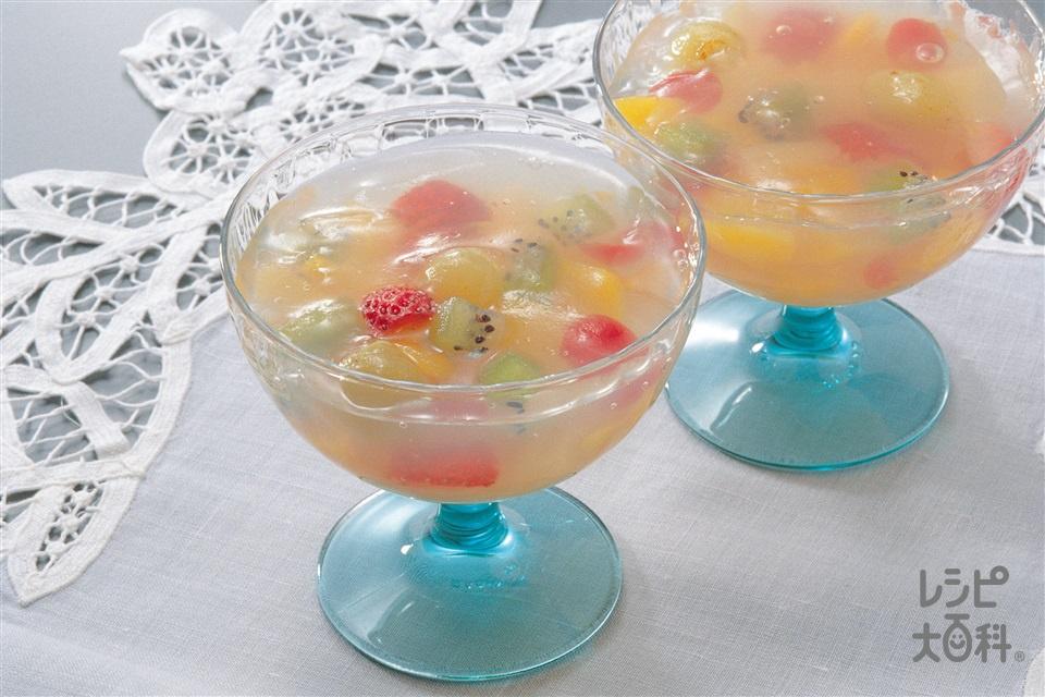 フルーツ寒天よせ(キウイ+いちごを使ったレシピ)