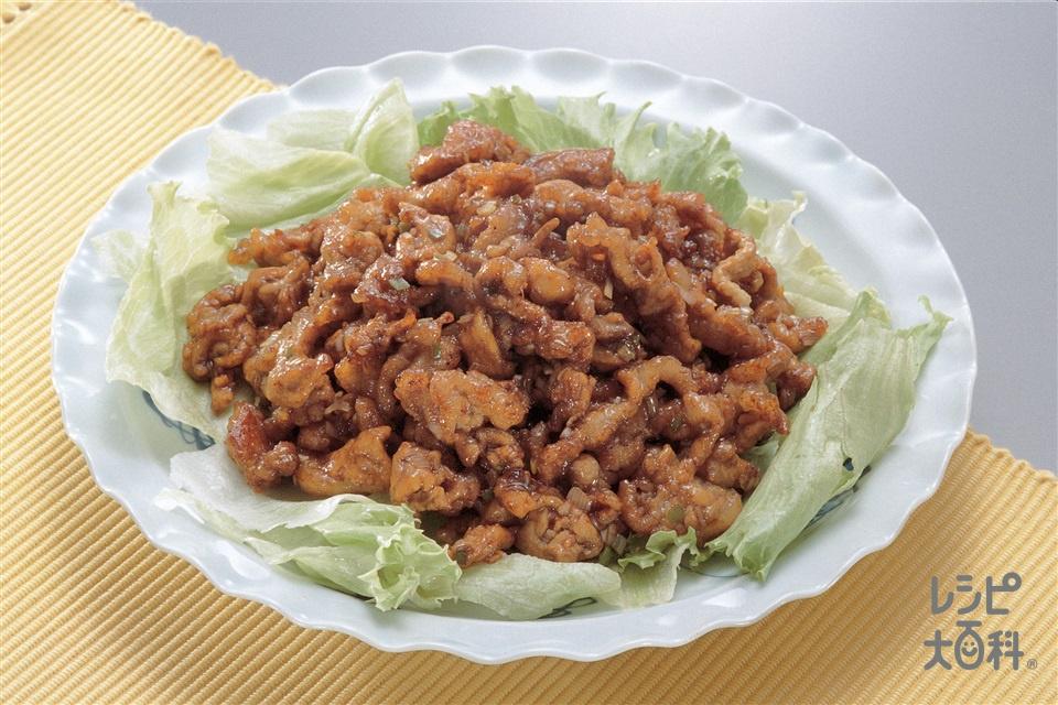 豚肉の甜麺醤炒め(豚もも薄切り肉+レタスを使ったレシピ)