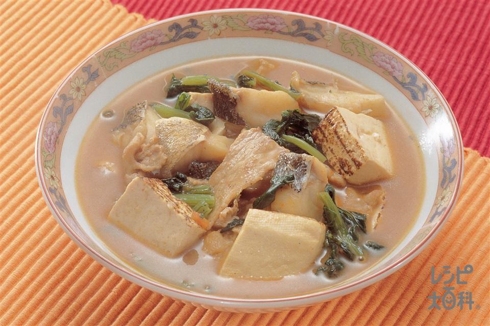 豆腐チゲ(焼き豆腐+豚肩ロース薄切り肉を使ったレシピ)