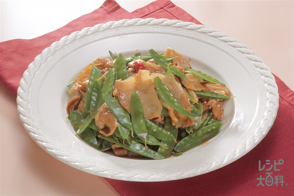 豚肉とさやえんどうのオイスターソース炒め(豚バラ薄切り肉+さやえんどうを使ったレシピ)