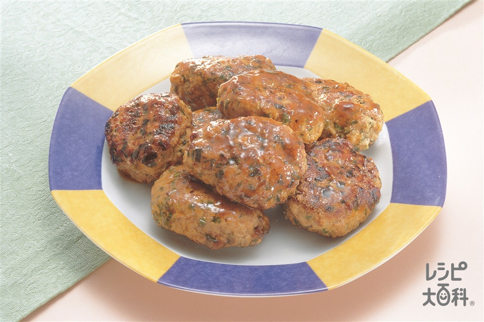 にら入り中国風ハンバーグ(豚ひき肉+木綿豆腐を使ったレシピ)