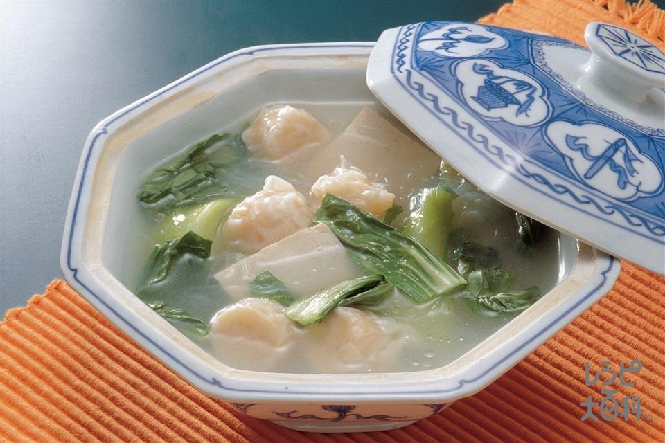 シューマイと青梗菜のスープ(チンゲン菜+木綿豆腐を使ったレシピ)