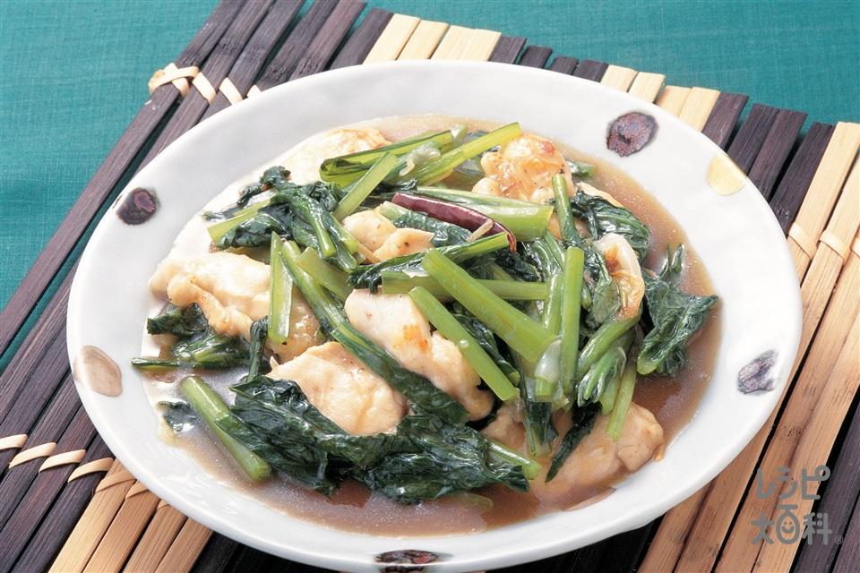 小松菜と鶏肉のしょうが炒め(小松菜+鶏むね肉を使ったレシピ)