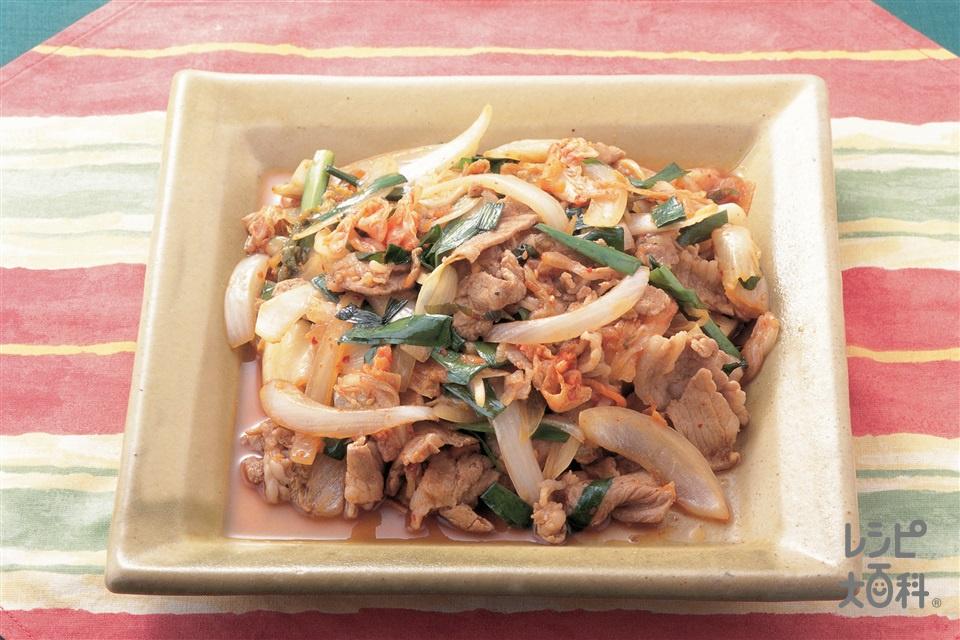 豚キムチ(豚ロース薄切り肉+玉ねぎを使ったレシピ)