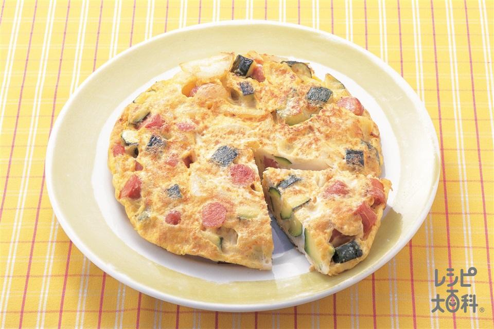 ズッキーニとソーセージのイタリアンオムレツ(ズッキーニ+じゃがいもを使ったレシピ)