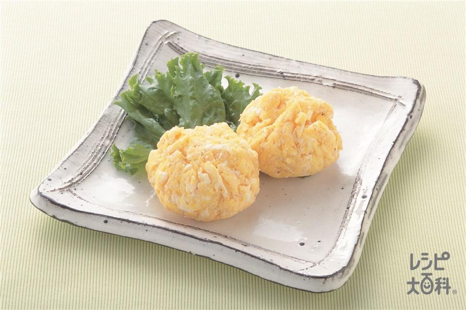 たらこ炒り卵のラップ茶巾(たらこ+卵を使ったレシピ)